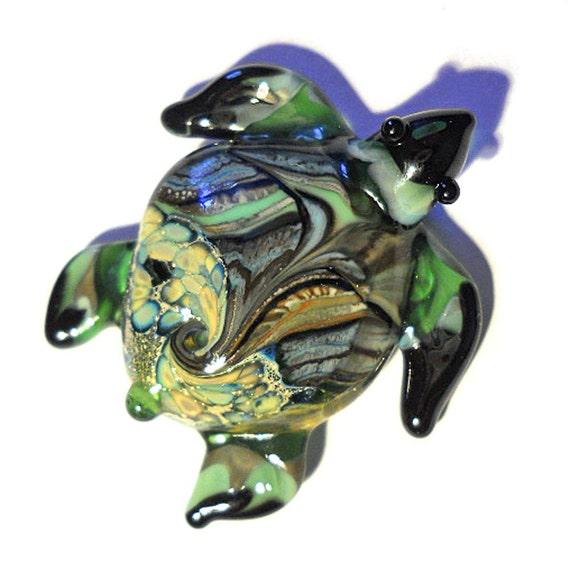 Handmade Lampwork Glass Beads pendant, green organic sea turtle  focal bead, SRA, Isinglass Design, leteam, tt team