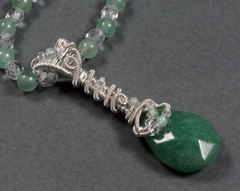 Necklace - Sterling Silver and Green Aventurine