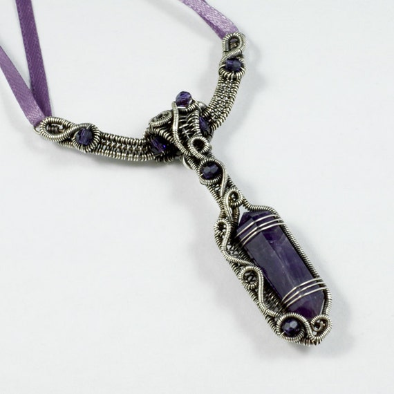 RESERVED for Sinanxis - Shelter from the Storm - Sterling Silver, Amethyst and Swarovski Crystal Necklace