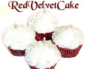 4 Red Velvet Cake Cupcake Candle Minis Scented Votive Handmade