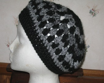 Crochet Hat In Gray or Red Tweed and Black Adult Beret Or Cloche