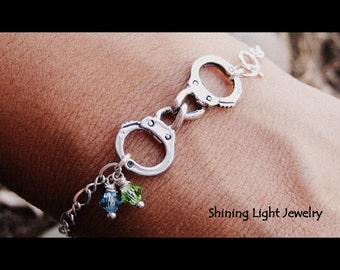 Handcuffs Bracelet with Swarovski Crystals - Custom - Sterling Silver