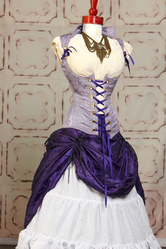 Royal Purple Diamond Pintuck Full Length Skirt