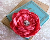 Coral Satin Flower Hair Clip. Pin and Hair Clip. Bridesmaid Hair Clip. Corsage. MANY COLORS AVAILABLE