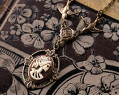 Skeleton Lady Cameo Necklace- Brass and Brown