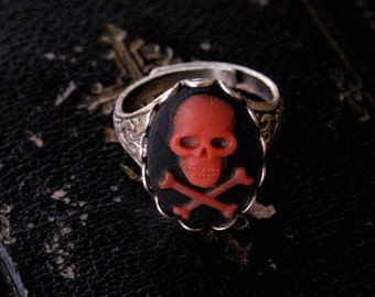 Skull Ring- Black, Red and Silver