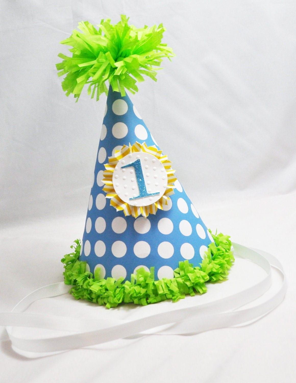 1st Birthday Party Hat Boy by CardsandMoorebyTerri on Etsy