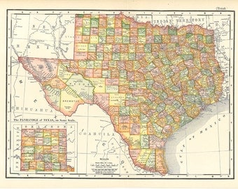 map of Texas, a printable digital antique map, a unique gift and home decor, no. 919