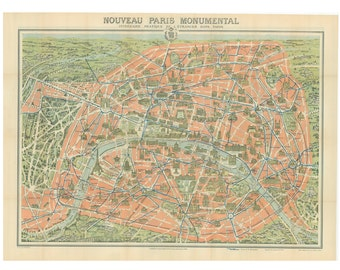 map of Paris Monuments, from the early 20th century, 20 by 30 inches, a digital file for you to print....