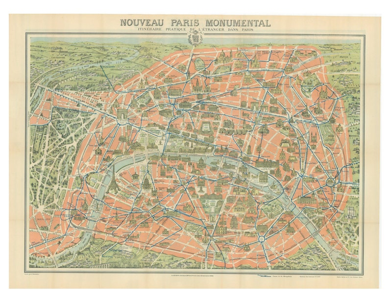 Map Of Paris Monuments From The Early Th Century By - Paris map monuments