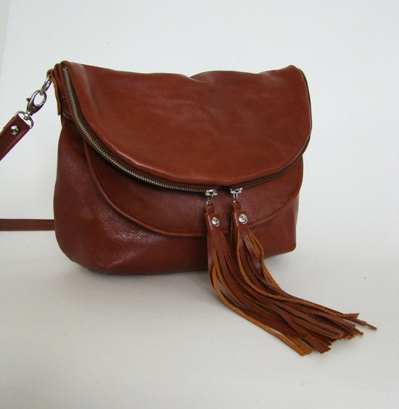 Distressed Chestnut Leather Mini Fold over Day Traveler, small brown leather convertible cross body or shoulder bag