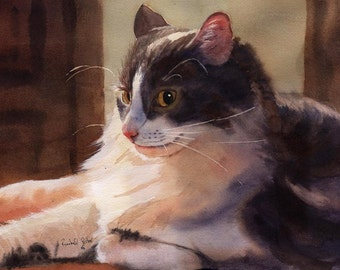 White Grey Gray Tabby Cat Art Print of my watercolor painting