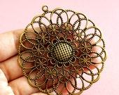 10pcs 68mm Antique Bronze Filigree Flower Pendants R0046-AB
