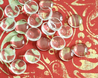 16pcs 12mm Glass Transparent Clear Round Cabochon Cameo Cover Cabs GGLA-G003