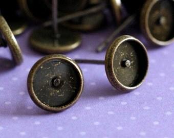 Sale 12pcs Antique Bronze Ear Posts 12x8mm IFIN-Q006-AB