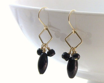 Black Obsidian, Tourmaline and Gold Fill Earrings, Black and Gold - Christian Jewelry - Light in the Darkness Collection
