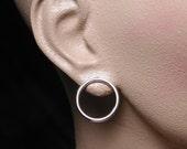 20mm Modern Silver Circle Stud Earrings Minimal Jewelry of 14 Gauge Wire Hoops by Susan Sarantos