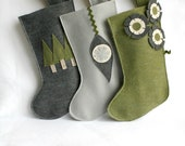 Christmas stockings in gray / grey silver , moss / sage green , charcoal and ivory eco friendly felt - set of 3 - rikrak