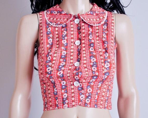 floral print peter pan collar crop top / hippie / xs / s