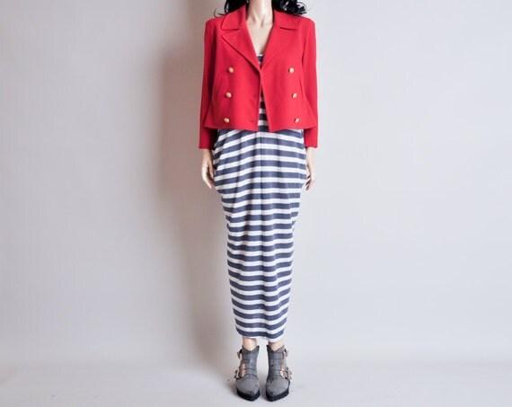 80s RALPH LAUREN red cropped pea coat jacket / s