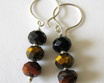 Tigers Eye Sterling Silver Earrings UK Seller Contemporary Semiprecious Brown Butterscotch Chesnut Espresso Grey Blue Jewelry