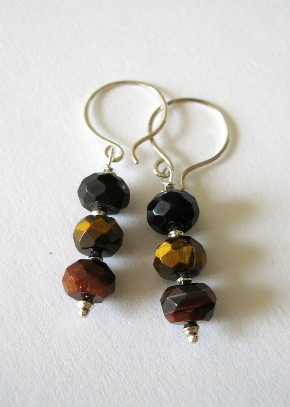 Tigers Eye Sterling Silver Earrings - UK Seller - Contemporary Semiprecious Jewelry - Brown Butterscotch Chesnut Espresso Grey Blue Jewelry