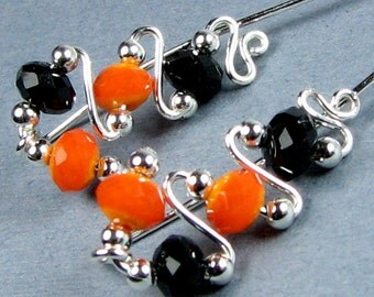 Halloween Ear Climbers Sterling Silver, 14k Gold or Rose Gold Orange and Black Halloween Ear Sweeps Vines Wrap Jackets