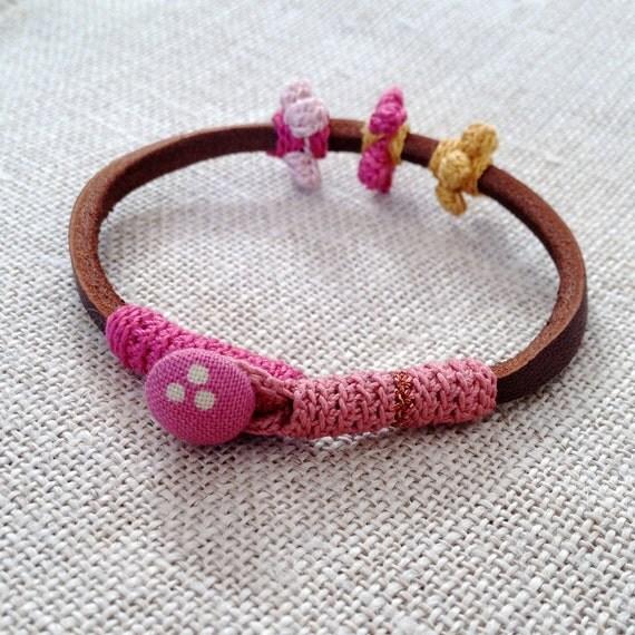 Leather & crochet cotton flowers friendship bracelet