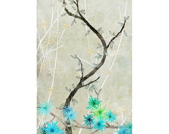 Maintenon Beige  - Fine Art Print of an original illustration - floral - botanical - home decor - wall art