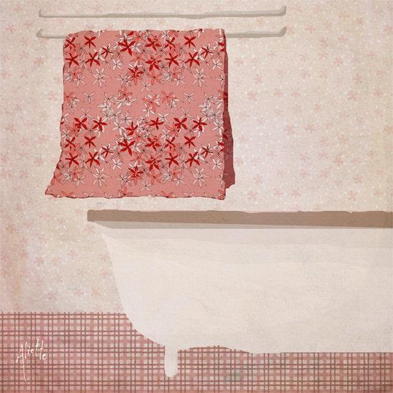 bain - Art - Home Decor - Illustration - Children Wall Art - Nursery Art Print - bathroom - pink - bath tub - towel - girl - pattern