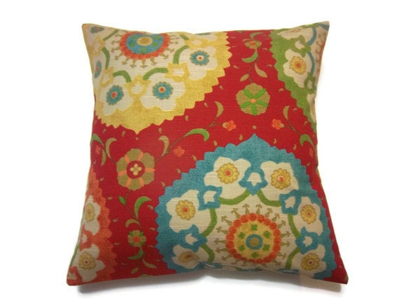 Decorative Pillow Cover Red Yellow Orange Green Turquoise Blue Suzani Pillow Cover 18 x 18 inch Toss Throw Accent Cover