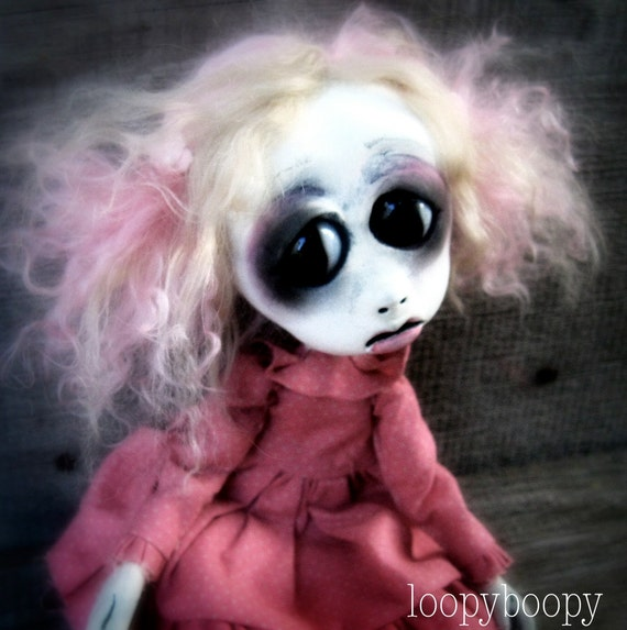 Loopy Gothic Art Doll OOAK Kawaii Doll Zee RESERVED for JO