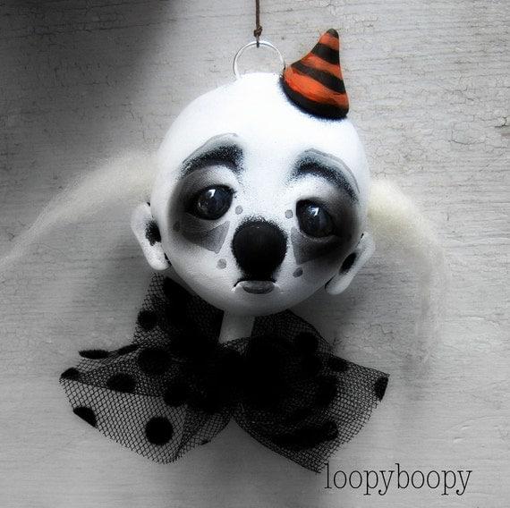 Halloween Ornament Creepy Clown Art Doll RESERVED FOR NAN