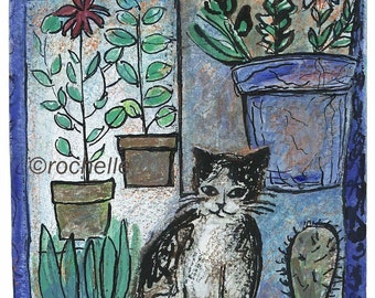 Cat with Flower Pots card