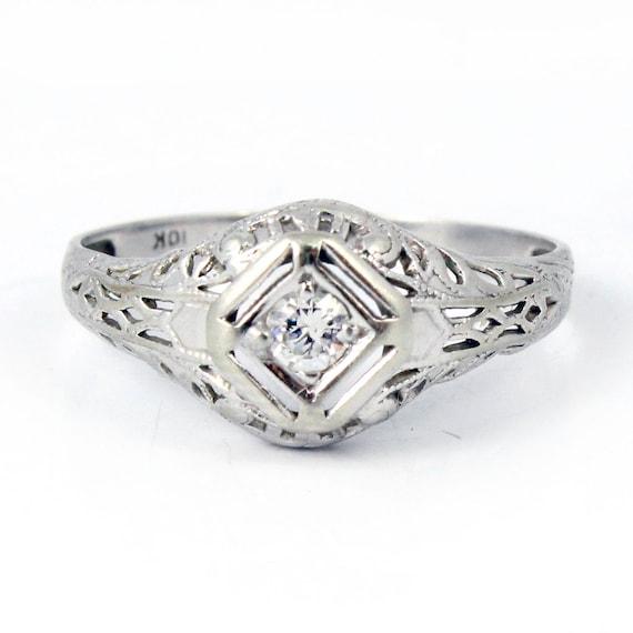 10K White Gold 1920s Art Deco Diamond Engagement Ring Filigree Jewelry