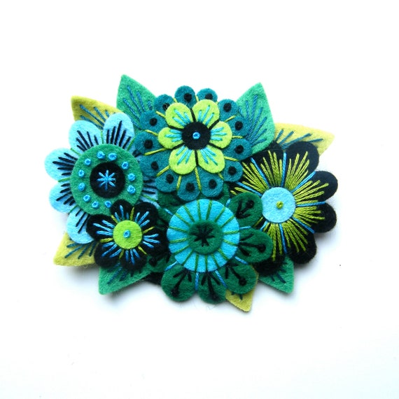 Vintage Bouquet Felt Flower Brooch With Freeform Hand