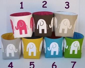 Storage and Organization - Mini Fabric Storage Container Organizer Bin- Ele Elephant - Choose Outside and Inside/ Lining Fabrics