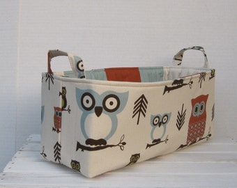 READY TO SHIP - Long Diaper Caddy - Storage Container Basket Fabric Organizer Bin - Hooty Owl - Village Blue Fabric