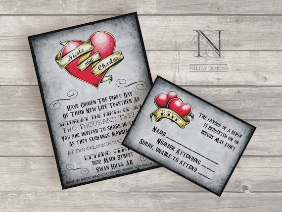 Heart Images For Wedding Invitations: Items Similar To Heart Tattoo Wedding Invitations With