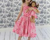 Pink twirl dress, floral dress, roses dress, Easter dress, Valentine dress, tiered sundress, ruffled dress, birthday dress, tween girl dress