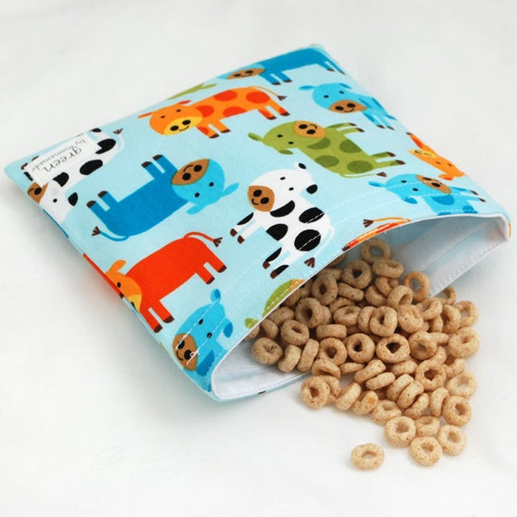 Moo at the Farm - green by mamamade Eco-Friendly Reusable Sandwich Bag