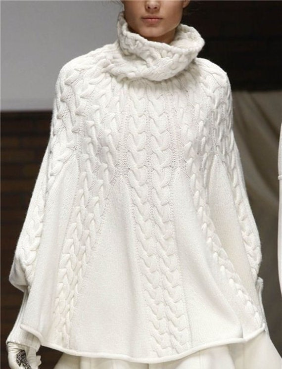 Knitting Pattern For Turtleneck Poncho : Hand Knit Turtleneck Poncho with sleeves .Pick your color