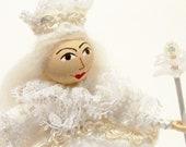 Art Doll, White Queen, Handsewn, Hand Embroidered, Alice In Wonderland