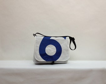 Recycled Sail Cloth Messenger Bag - Blue Number 6