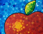 Red Apple Print From Painting Abstract Blue Sky Fruit Delicous Sharon Cummings Kitchen Love Teacher Gift Smart Chef Art Gourmet Food Chef