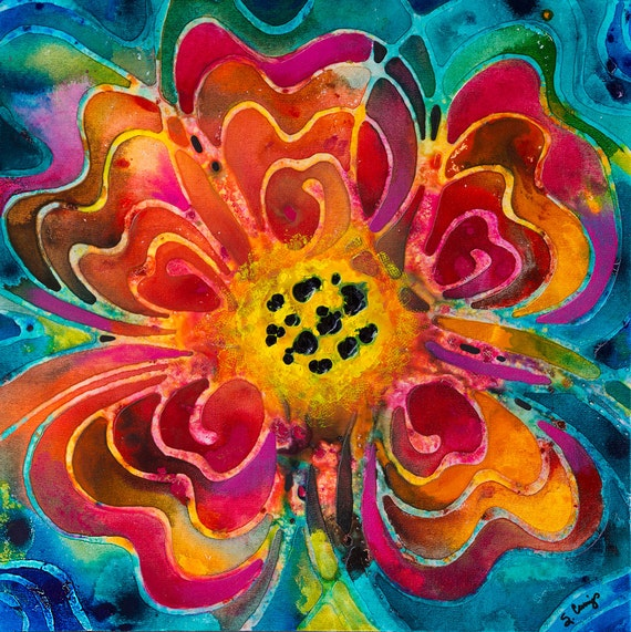 Colorful Flower PRINT Vibrant Floral Abstract Pink Orange Yellow Green Blue Turquoise Texture Summer Love From Painting Artwork Romance