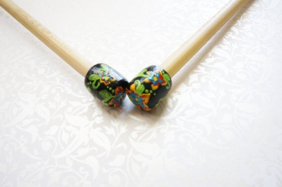 Hand Painted Size US 10 (6mm) Bamboo Knitting Needles 9 inches Tropical Flowers