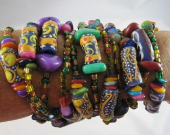 African Recycled Glass Necklace Bracelet 88 inch long one of a kind fair trade beads Sandoodles