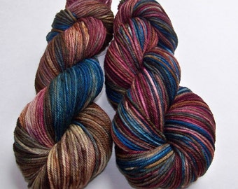 SALE 20 Percent Off -- Hand Dyed Superwash Merino Worsted Yarn -- Doctor Who: Mad Man With a Box