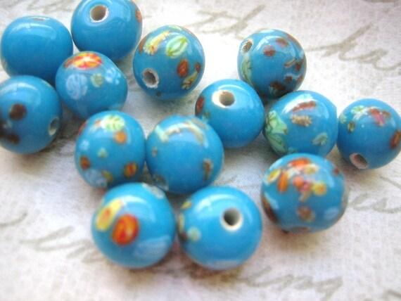 Vintage millefiori beads Japanese opaque glass lampwork turquoise blue millifiori handmade beads 8mm (10)